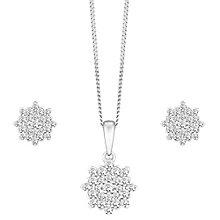 9ct White Gold 0.50ct Floral Cluster Diamond Jewellery Set - Product number 8147329