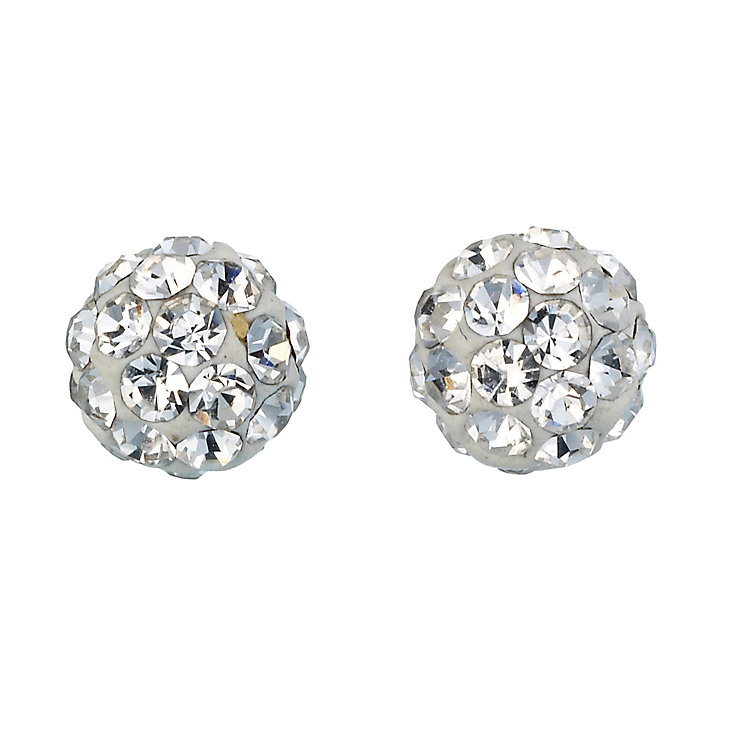 9ct White Gold Crystal Ball Stud Earrings 4mm - Product number 8147418