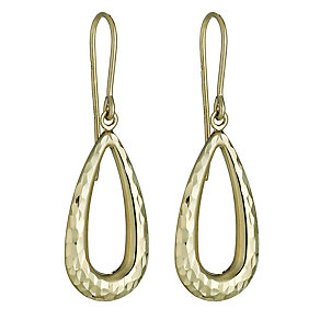 9ct Yellow Gold Diamond Cut Drop Earrings - Product number 8147450