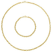 9ct Yellow Gold Curb Necklace and Bracelet Set - Product number 8147779