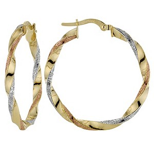 9ct 3 Colour Twisted Creole Earrings - Product number 8148422