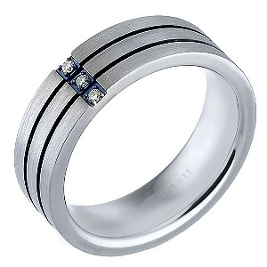 Men's Titanium and Stainless Steel Diamond Ring - Product number 8149836