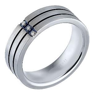 Men's Titanium and Stainless Steel Diamond Ring