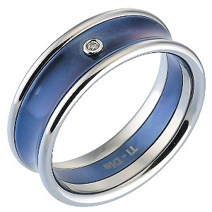 Men's Titanium Diamond and Blue Centre Ring - Product number 8150125