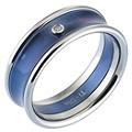 Men's Titanium Diamond and Blue Centre Ring - Product number 8150125