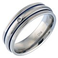 Men's Titanium Diamond Blue Stripe Ring - Product number 8150265
