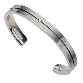 Titanium Blue Stripe Bangle - Product number 8150575