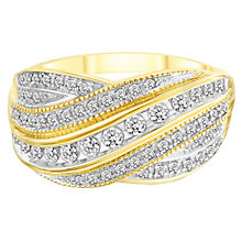 9ct Yellow Gold 1/3ct Diamond Seven Row Crossover Ring - Product number 8155593