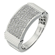 Men's 9ct white gold pave set diamond ring - Product number 8157219