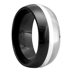 Edward Mirell Tuxedo black titanium & silver ring - Product number 8158002