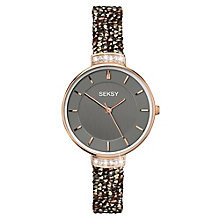 Seksy Ladies' Stone-Set Grey Strap Watch - Product number 8158827