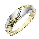 Men's 9ct two tone diamond ring - Product number 8159289