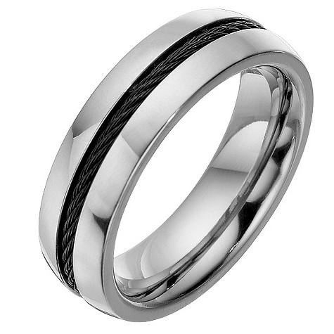 Men's titanium black rope ring