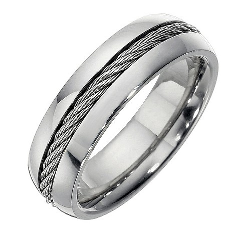 Men's titanium grey rope ring