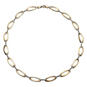 9ct Yellow Gold Rhodium Oval Link Necklace