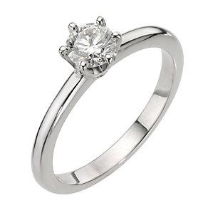 Platinum Half Carat Diamond 6 Claw Set Solitaire Ring - Product number 8165556