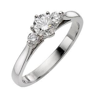 Platinum 60pt Diamond Three Stone Ring