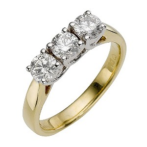Forever Diamonds - 18ct Gold 1 Carat Three Diamond Ring