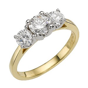 Forever Diamonds - 18ct Gold 1.32 Carat Three Diamond Ring