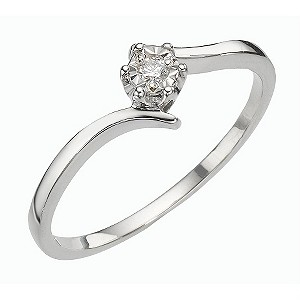 9ct White Gold Illusion Set Diamond Solitaire Ring