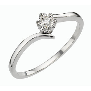 9ct White Gold Illusion Set Diamond Solitaire Ring - Product number 8166749