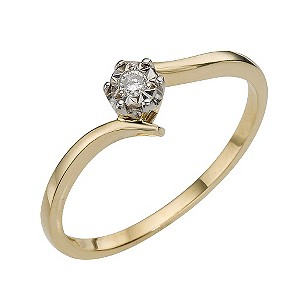 9ct Yellow Gold Rhodium Illusion Set Solitaire Ring