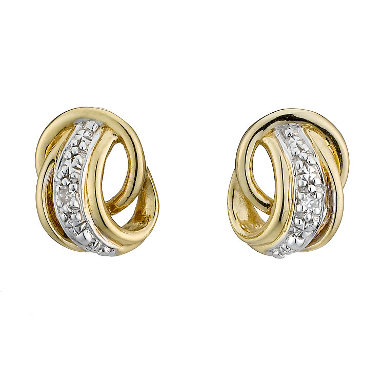 9ct Yellow Gold and Diamond Stud Earrings - Product number 8168091