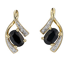 9ct Yellow Gold Diamond and Black Sapphire Earrings - Product number 8168172
