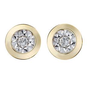 9ct Yellow Gold Rhodium Illusion Set Diamond Stud Earrings - Product number 8168199