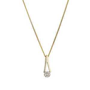 9ct Yellow Gold Diamond Upside Down Pendant - Product number 8168202