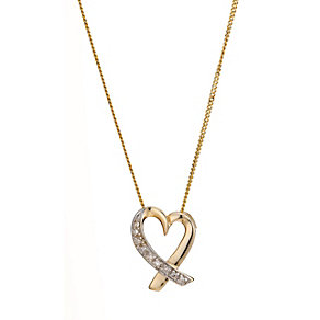 9ct Yellow Gold Pave Cut Diamond Heart Pendant - Product number 8168520