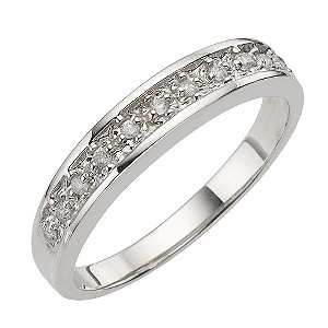 9ct White Gold Pave Set Diamond Eternity Ring