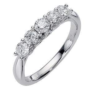 Platinum 3/4 Carat Diamond 5 Stone Ring