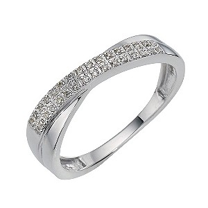 9ct White Gold Diamond Double Crossover Ring