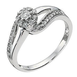 9ct White Gold 0.33 Diamond Cluster Ring - Product number 8172781