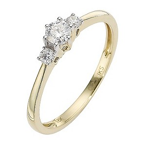 18ct Gold Quarter Carat Diamond Three Stone Ring