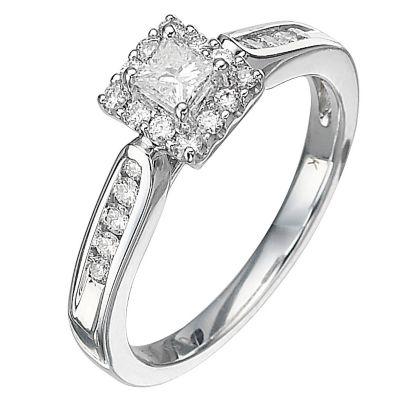 18ct White Gold Half Carat Princess Cut Diamond Ring HSamuel
