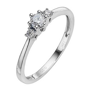 18ct White Gold Quarter Carat Diamond Three Stone Ring