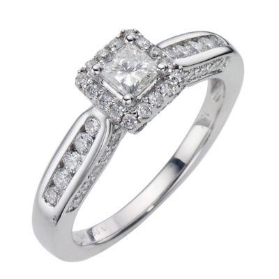 18ct White Gold 1 Carat Princess Cut Diamond Ring HSamuel