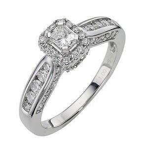 18ct White Gold 1 Carat Radiant Cut Diamond Ring