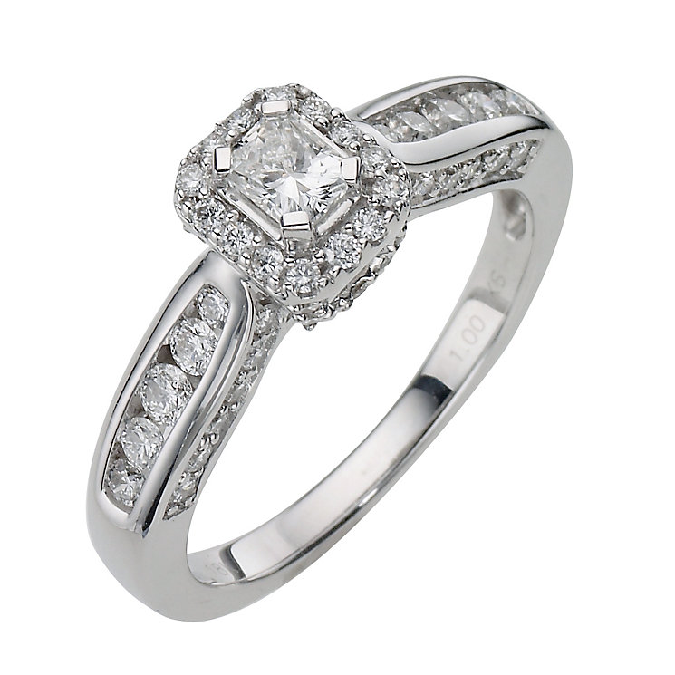 18ct White Gold 1 Carat Radiant Cut Diamond Ring - Product number 8175691