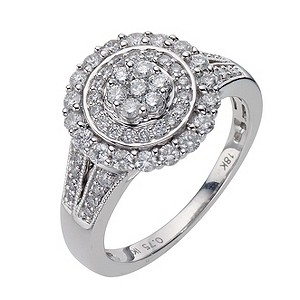 18ct 3/4 Carat Diamond Cluster Ring With Pave Set Shank