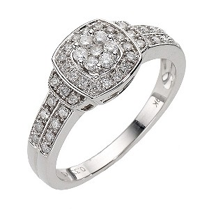 9ct White Gold Square Cluster Ring - Product number 8176612