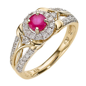 9ct Yellow Gold Third Carat Diamond & Treated Ruby Ring - Product number 8178070