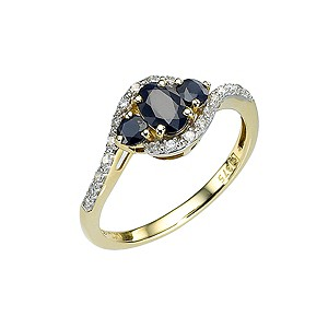 9ct Gold Diamond and Black Sapphire Ring