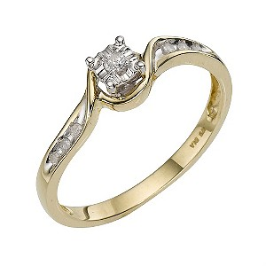 9ct Yellow Gold Diamond Twist Ring - Product number 8179050