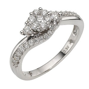18ct White Gold Half Carat Diamond Round Cluster Ring - Product number 8179980