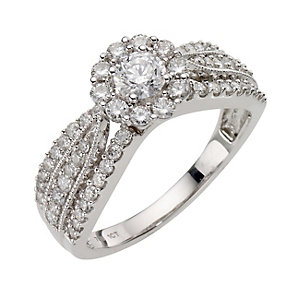 18ct White Gold 1 Carat Diamond Cluster Ring - Product number 8180105