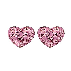 9ct White Gold Pink Crystal Heart Stud earrings - Product number 8181497