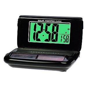 Black Solar Travel Alarm Clock